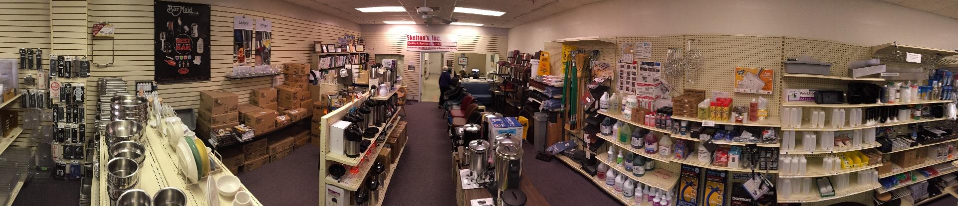 Panoramic view of Skelton's Inc. Foodservice Equipment's showroom