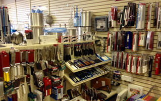 Skelton's Inc. aisle of spatulas and other restaurant equipment
